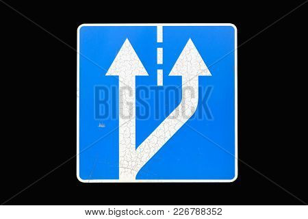 'beginning Of Additional Lane' Road Sign Isolated On Black