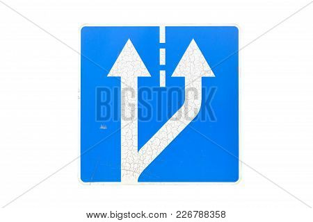 'beginning Of Additional Lane' Road Sign Isolated On White