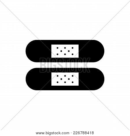Monochrome Patch Icon In Flat Style. Isolated Patch Icon For Use In Variety Of Projects. Black And W