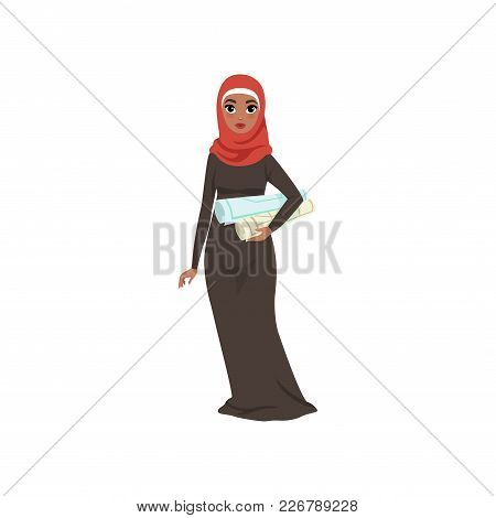 Arabic Businesswoman Character Standing With With Rolls In Her Hands, Elegant Muslim Woman In Tradit