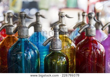 Buenos Aires, Argentina - January 21, 2018: Soda Bottles At San Telmo Flea Market In Buenos Aires, A