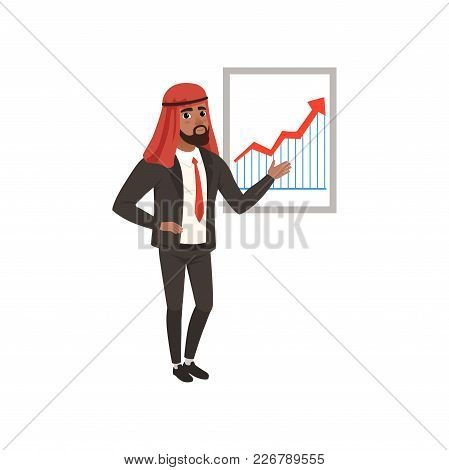 Arabic Businessman Character Making Presentation And Explaining Chart On A Whiteboard Vector Illustr