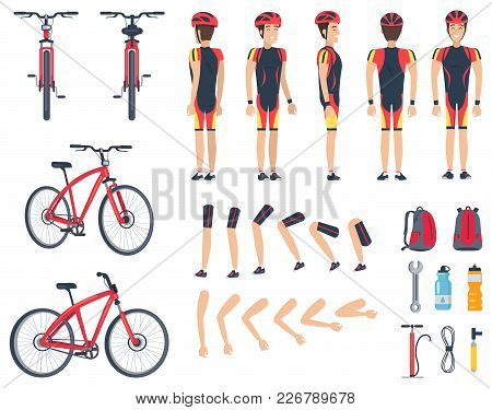 Man In Sport Clothes And Modern Bicycle. Character Constructor That Consists Of Body Parts, Big Back