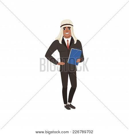 Arabic Businessman Character In Formal Wear Standing With Folder For Documents Vector Illustration O
