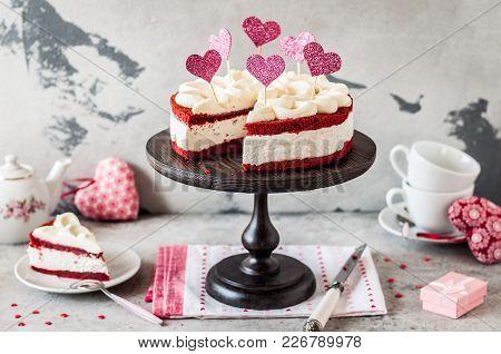 Sliced Red Velvet Cheesecake