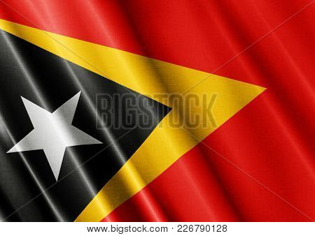East Timor Textured Proud Country Waving Flag Close