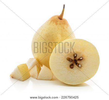 One Nashi Pear With A Half And Four Cut Pieces (russet Pear) Isolated On White Background Yellow Tex