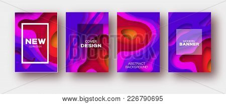 Violet Red Paper Cut Wave Shapes. Layered Curve Origami Design For Business Presentations, Flyers, P