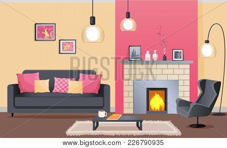 Interior Design Living Room Brick Vector & Photo   Bigstock