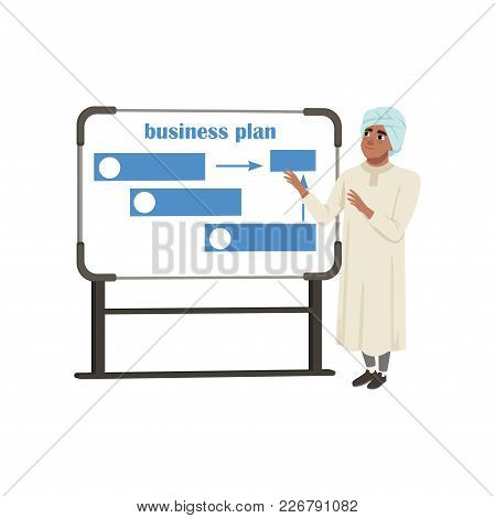 Arabic Businessman Character Presentation And Explaining Planning Work And Strategies Vector Illustr