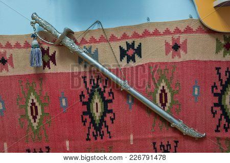 Viking Sword Medieval Azerbaijan Cold Steel Blade . Ancient Azerbaijan Military Sword On White Backg