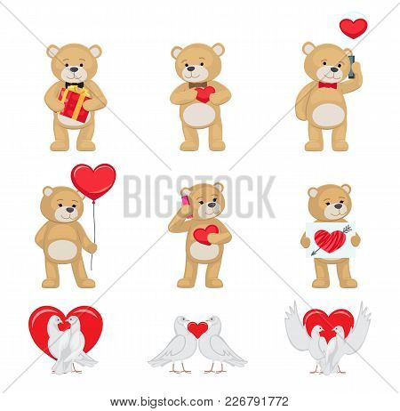 Cute Soft Toy Bears That Hold Hands And Kiss And White Doves Couples In Love With Red Hearts Isolate