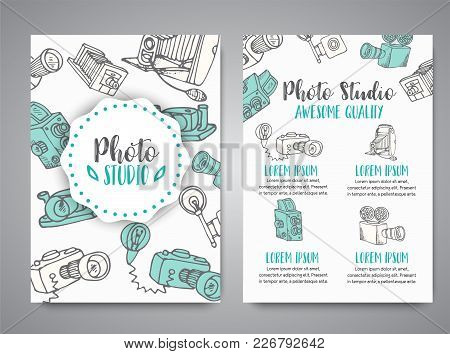 Brochure Set With Photo And Video Design In Doodle Style. Vector Illustration Photography Theme For
