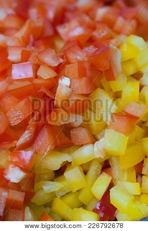Sweet Bell Red And Yellow Pepper Cut Into Colorful Pieces Composition