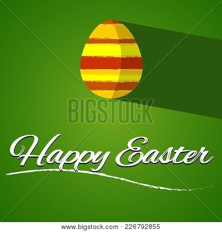 Happy Easter Greetings Card. Simple Clean And Flat Design. Orange Easter Egg Placed On The Green Bac