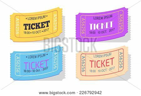 Ticket To Performance With Date Sign Vector Illustration Set Isolated On White, Colorful Passes To S