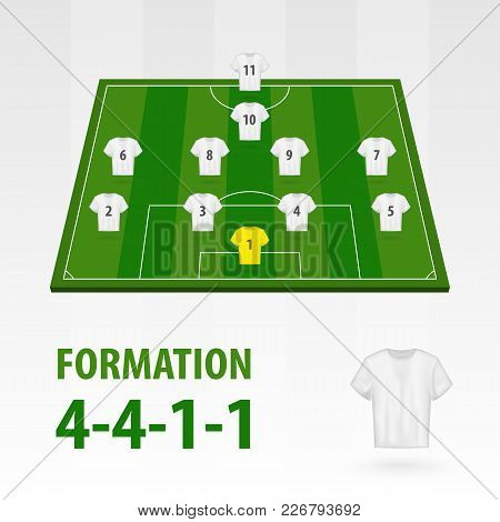 Football Players Lineups, Formation 4-4-1-1. Soccer Half Stadium.