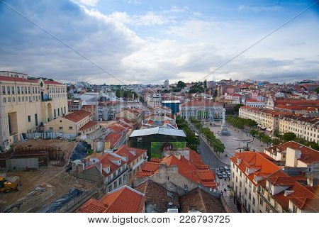Lisbon, Portugal, July  6, 2014: View From The Top Of The Santa Justa Elevator On Lisbon City.,portu