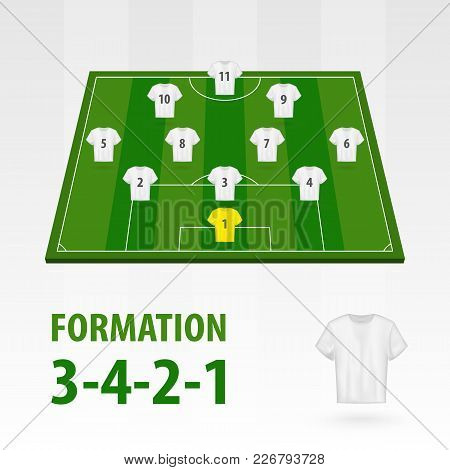 Football Players Lineups, Formation 3-4-2-1. Soccer Half Stadium.