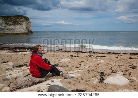 Flamborough, England - July 15,2012: On The Beach In Falmborough. Flamborough North West Or Flamboro