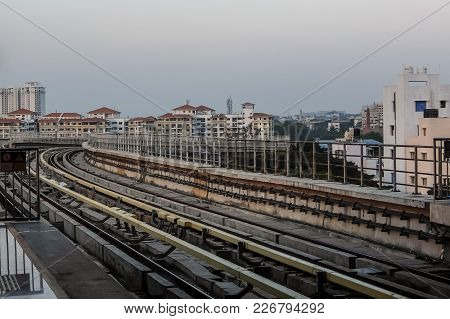 Bangalore, India - December, 18th, 2016. View Of Metro Railway Tracks From The Station Platform