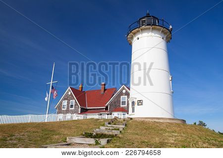 Cape Cod, Massachusetts, Usa - July 7,2016: Nobska Light, Also Known As Nobska Point Light Is A Ligh