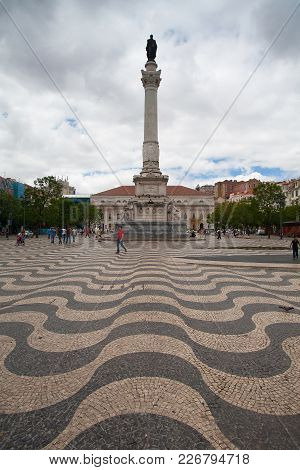 Lisbon, Portugal, July  6, 2014:  Fountain At The Rossio Square In Lisbon. Lisbon Is The Capital Of