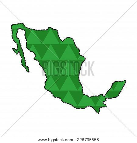 Dotted Line Map Of Mexico. Vector Illustration Design