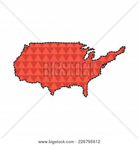 Dotted Line Map Of The United States. Vector Illustration Design