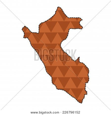 Dotted Line Map Of Peru. Vector Illustration Design