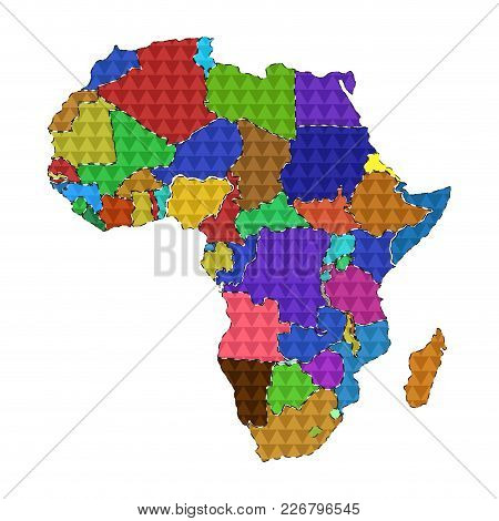 Dotted Line Political Map Of Africa. Vector Illustration Design