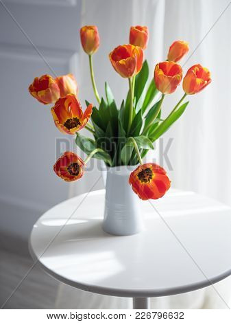Classic Still Life With Red Yellow Tulips