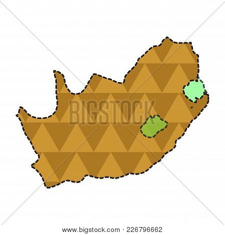 Dotted Line Map Of South Africa. Vector Illustration Design