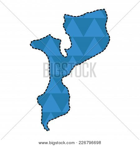 Dotted Line Map Of Mozambique. Vector Illustration Design
