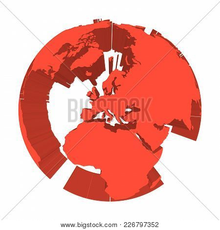 Earth Globe Model With Red Extruded Lands. Focused On Europe. 3d Vector Illustration.