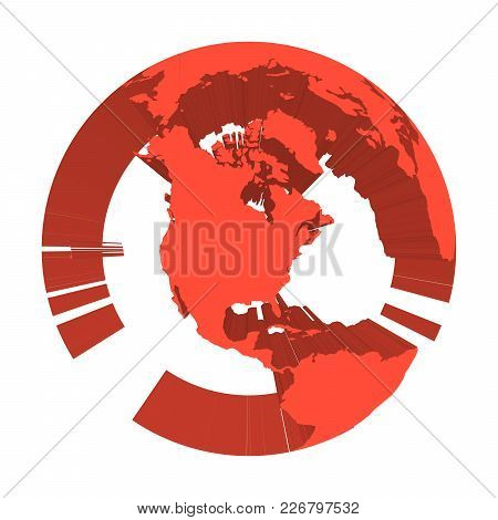 Earth Globe Model With Red Extruded Lands. Focused On North America. 3d Vector Illustration.