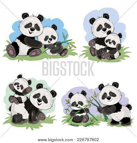 Cute Baby Panda Bear And Its Mother Playing On Grass, Eating Bamboo Stems And Leaves, Vector Cartoon
