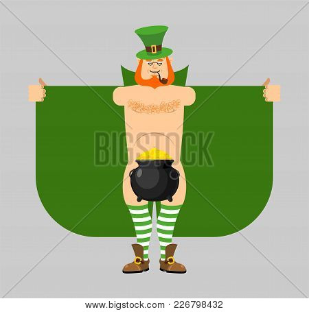 Leprechaun Exhibitionist And Pot Of Gold. St. Patricks Day For Adults. Irish Holiday Vector Illustra