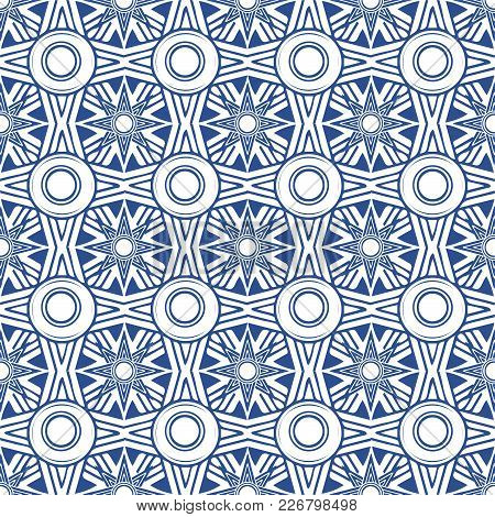Vector Seamless Pattern: Octagon Oriental Ethnic Ornate. Persian Islamic Style Imitation Composition
