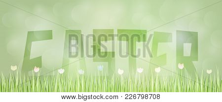 Easter Background. Green Landscape With Flowers And Grass In The Foreground. Text : Easter