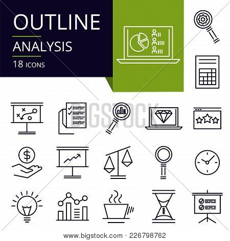 Set Of Outline Icons Of Analysis. Modern Icons For Website, Mobile, App Design And Print.