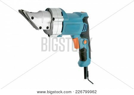 Compact Blue Electric Pruner Whith Button On The White Background