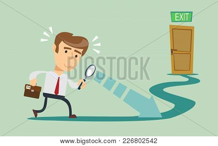 Man Looks At Opportunities. Male Walking To Goal. Vector Illustration Flat Design. Isolated Backgrou
