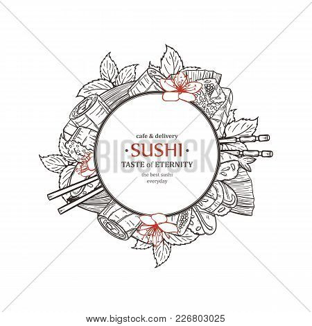 Doodle Sushi Restaurant And Delivery Design Template. Asian Food Composition. Vector Illustration