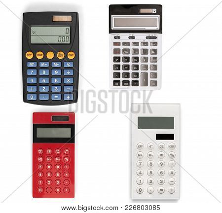 Calculators Numbers Red Objects Design Business Detail