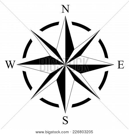 Compass Rose For Marine Or Nautical Navigation And Geographic Maps On A Isolated White Background As