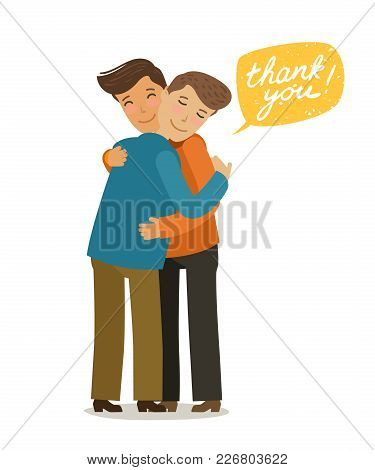 Thank You, Hugs Banner. Friendly Meeting Concept. Cartoon Vector Illustration