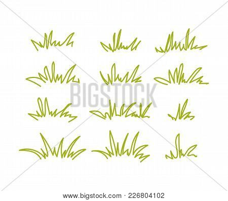 Set Of Green Grass Tufts, Clip Art, Transparent Background