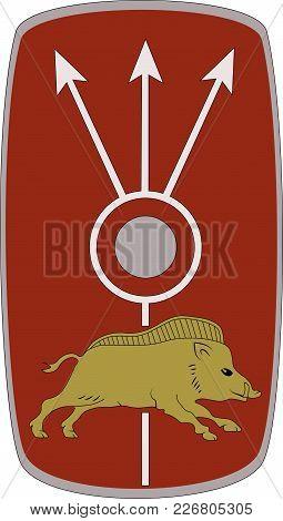 Vector Shield Of Ancient Roman Legoin Legio Xx Valeria Victrix On White Background