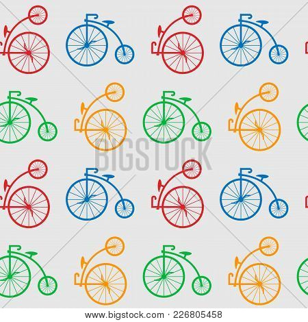 Multicolored Antique Old Bicycle With Big Wheels Penny-farnet Seamless Pattern. Seamless Pattern Wit